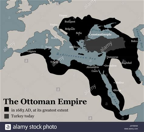 Turkey And The Ottoman Empire Turkey Today And The Ottoman Empire At Its Greatest Extent In 1683 Stock Photo Royalty Free