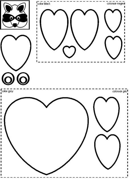 printable raccoon mask template raccoon craft heart shapes preschool printable