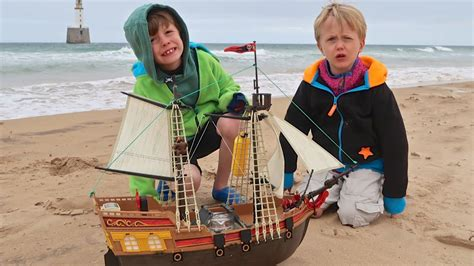 toy boat launched in scotland playmobil pirate ship launched by brothers ollie and harry