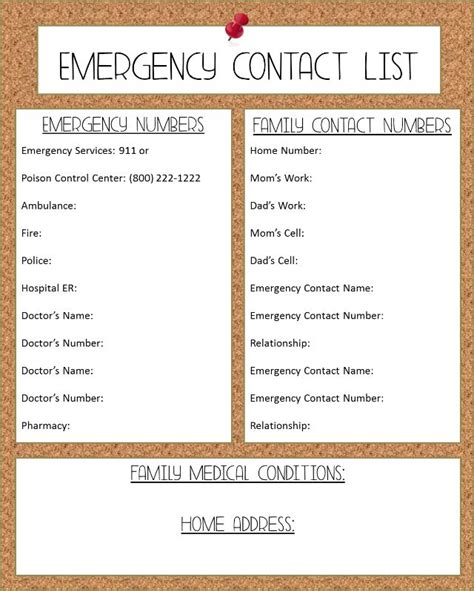 Free Printable Emergency Phone List