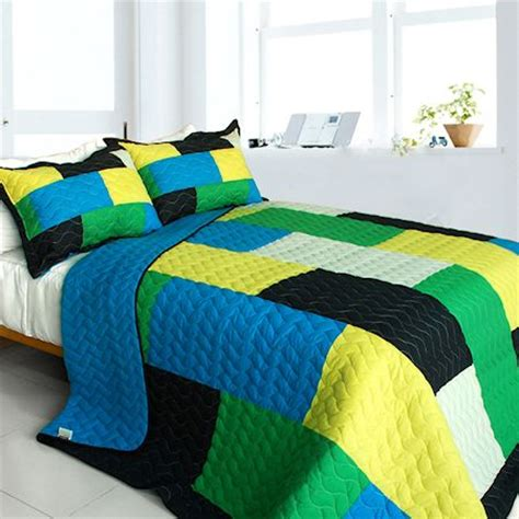 minecraft patchwork teen boy bedding full/queen quilt set