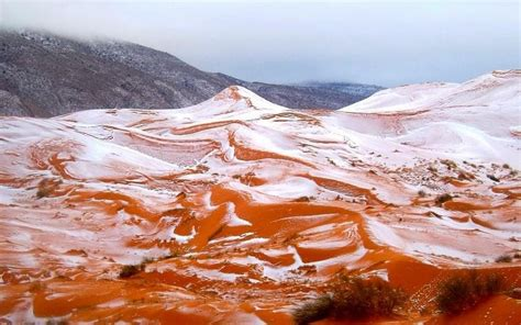 stunning photos capture rare snow in the sahara desert