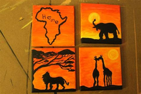 Afika Syari Black safari coasters africa elephant and giraffes africa set of and black