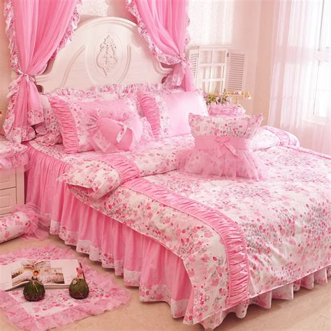 pink bedding sets new arrival pink lace ruffle bowtie duvet cover
