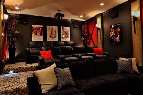 Media Room Decor Transitional Interior Design Wills Transitional Home Theater Houston By The Design Firm