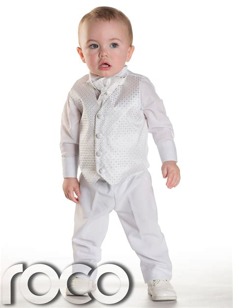 3 M Boy baby boys white waistcoat suit page boy suits boys wedding suits 3m 6yrs ebay