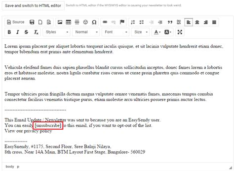 how to add unsubscribe and webversion links to emails in sendy
