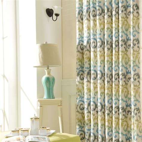 Best Kitchen Curtains Kitchen Curtain Grommet Top Polyester Cotton Printed Drapes Yellow Geometric Pattern Modern