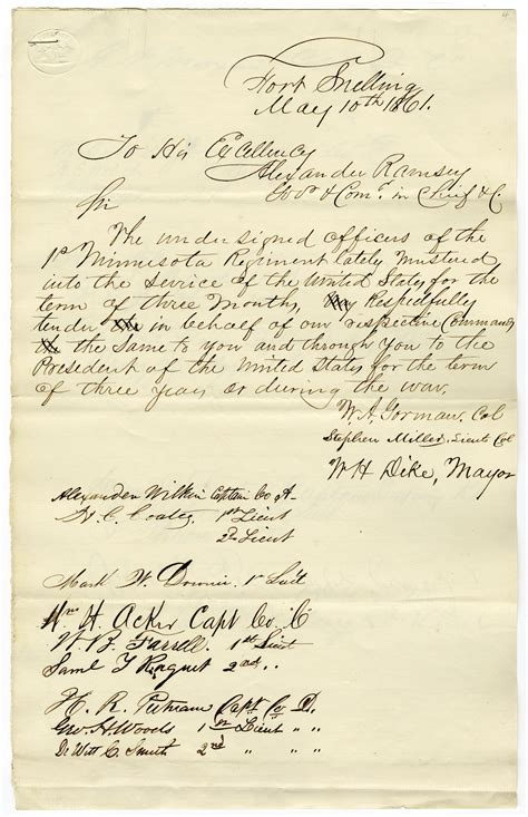 Service Letter Mn Letter Tendering The Services Of Mn 1st Officers For Three Years May 10 1861 Museum