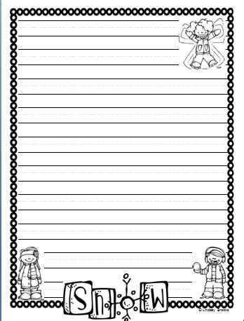 printable january writing paper winter writing paper writing paper february and january