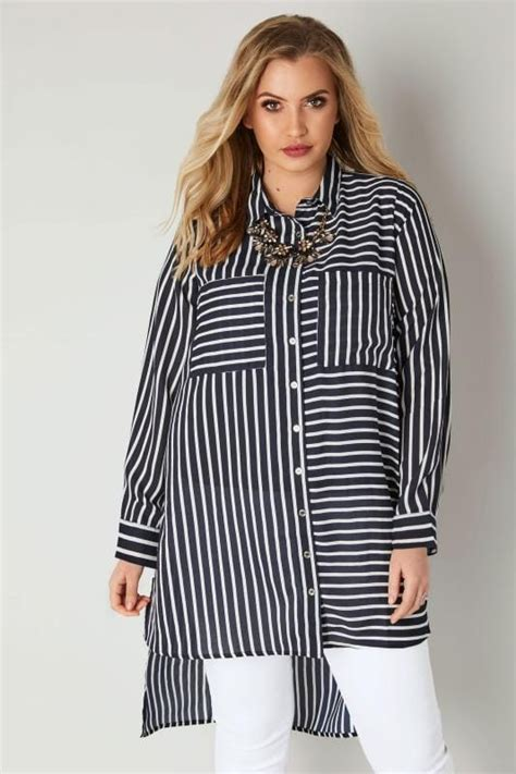 Fei Li Button Motif Leather Handbag Set Pastel navy white stripe shirt with dipped hem plus size 16 to 32