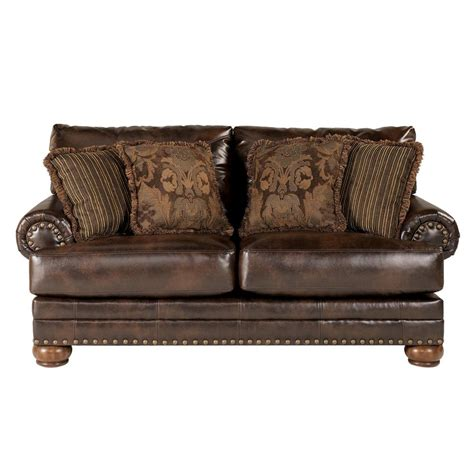 ashley furniture leather nailhead sofa loveseat with nailhead trim by signature design by ashley
