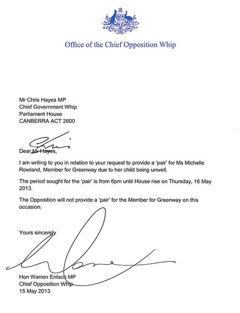 leave request letter due to illness coalition to grant pair for mp rowland to be with