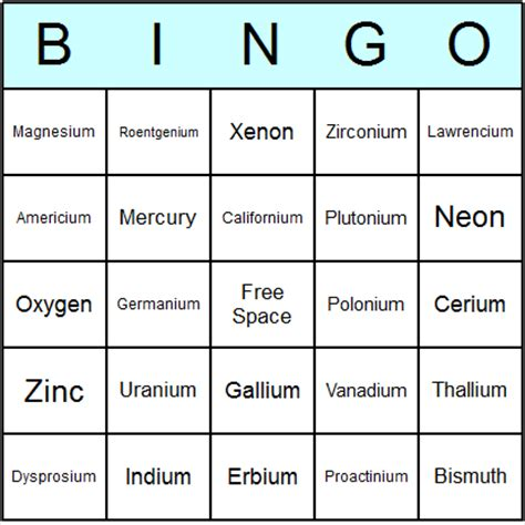 Printable Periodic Table Game | free printable elements of the periodic table bingo cards