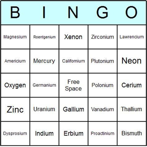 periodic table bingo free printable elements of the periodic table bingo cards