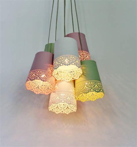 diy ideen hauptdekor pastell lace kronleuchter beleuchtung fixture upcycled