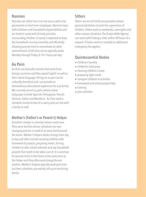 nanny description the agency atlanta nanny and description