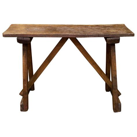 small trestle table small scale elm trestle table at 1stdibs