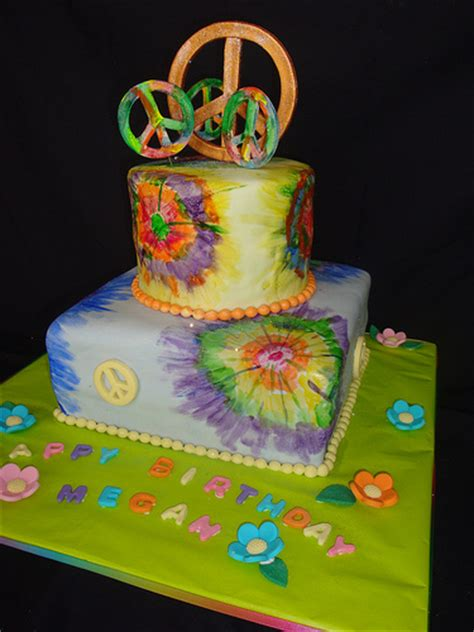 Peace Sign Tie Die Cake Rainbow Colors Inside Cake Peace Sign With Color On Inside