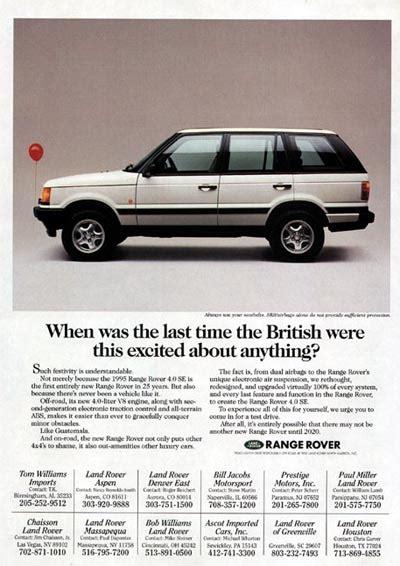 vintage land rover ad 1995 range rover 4 0 se classic vintage print ad