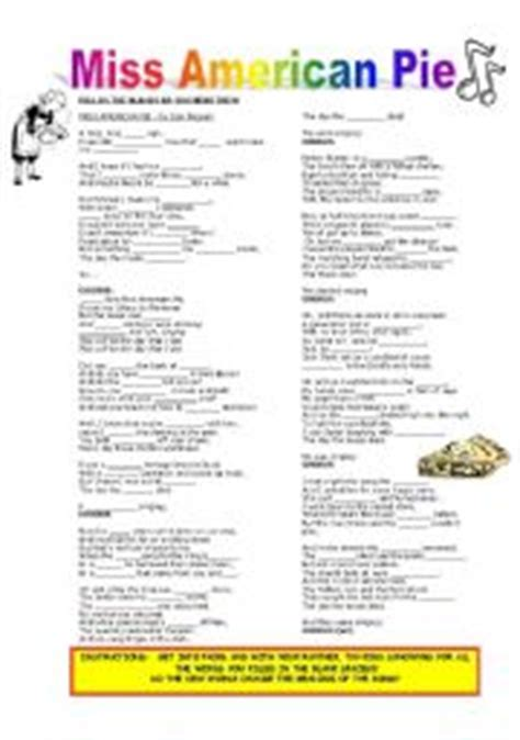 printable lyrics to american pie english worksheets listening skill miss american pie