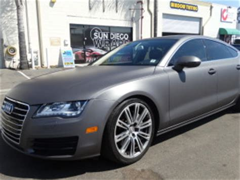 2014 audi a7 vinyl wrapped with a matte charcoal metallic