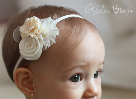 Handmade Baby Headband - flower headband three ivory flowers bouquet handmade