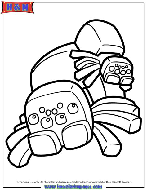 minecraft coloring pages cave spider spiders from minecraft video game coloring page