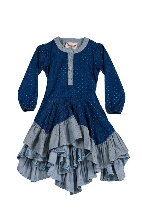 Wing Ruffle paper wings chambray kitten dot ruffle dress