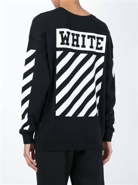 White Sweater S White Jaket Jaket Hoodie Berkualitas white c o virgil abloh striped detail sweatshirt in black lyst