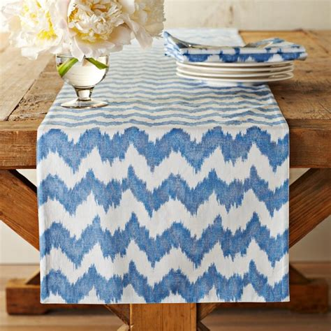 bold ikat print table runner blue contemporary table