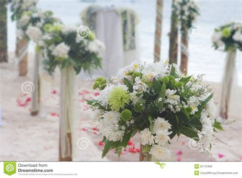 Wedding Flower Arch, Post And Decoration On Beach Stock
