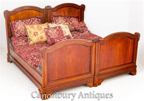 antique french mahogany double bed carved bedroom