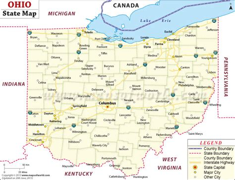 columbus ohio map usa ohio state map
