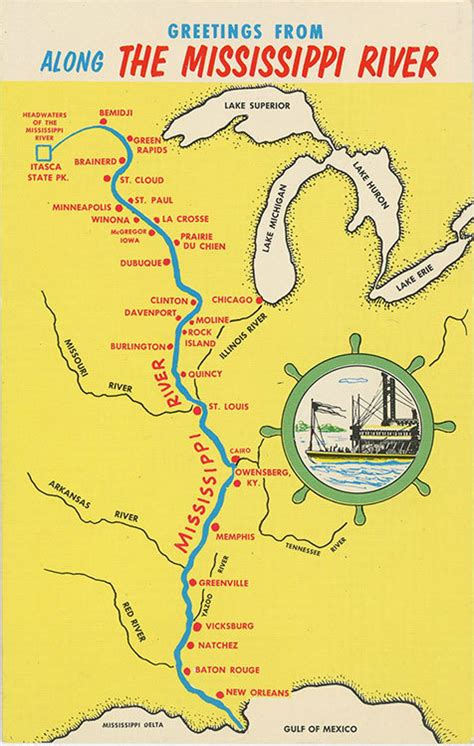 us map showing states and mississippi river vintage chrome state map greetings postcard showing towns