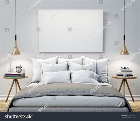 art in the bedroom mock blank poster on wall bedroom stock illustration