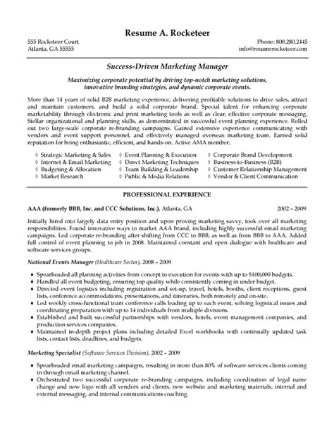 Marketing Resumes by B2b Marketing Manager Resume Exle Resume Exles