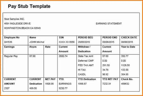 paycheck stub template excel simple pay stub template in word and