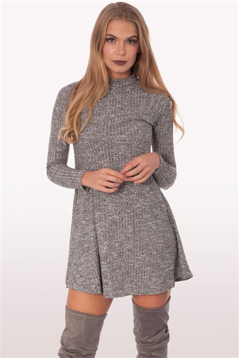 Dress Polo Polos Aic charcoal grey ribbed polo neck skater dress dresses modamore