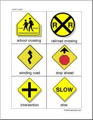 large printable road signs flashcards traffic warning signs abcteach