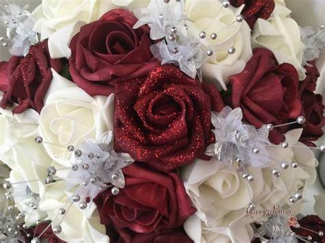 burgundy glitter rose  silver babies breath groovyruby