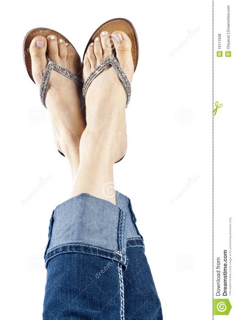 jeans swing com woman wearing blue jeans and stylish flip flops stock