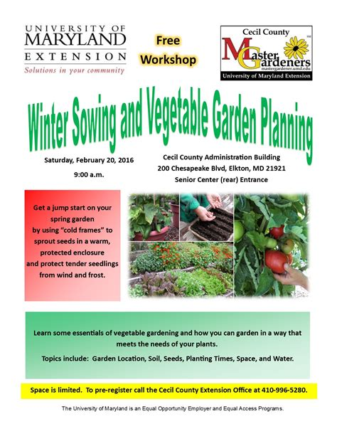cecil county section 8 winter sowing and vegetable garden planning workshop