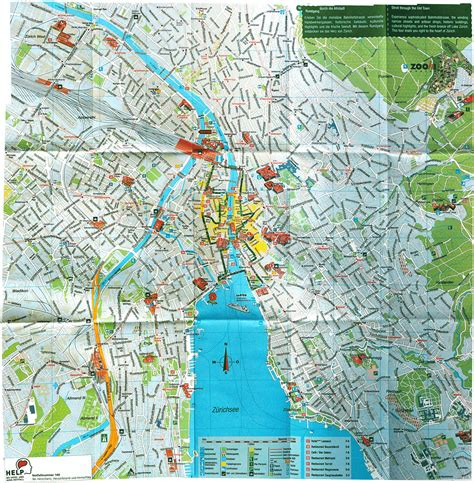 city map with attractions large detailed tourist map of zurich city zurich city