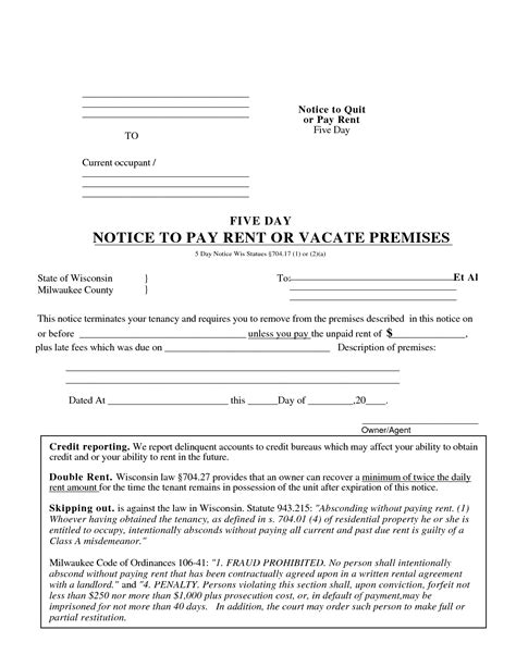 10 Best Images Of Blank Copy Eviction Notice Free Printable 5 Day Eviction Notice Illinois Template