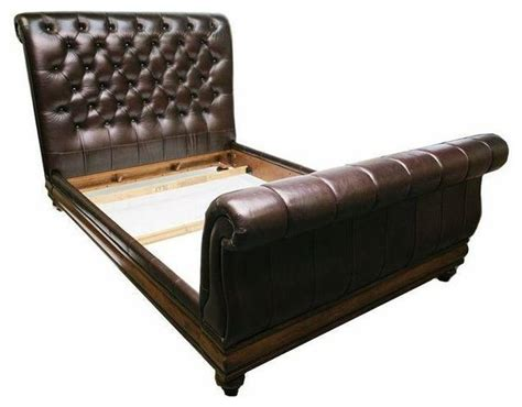 Consigned Sleigh Bed Tufted Leather Queen Traditional Leather Headboard Sleigh Bed