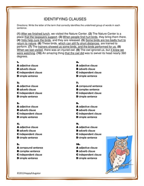 Identifying Clauses Worksheet by Clauses Identifying Clauses Worksheet Or Quiz By