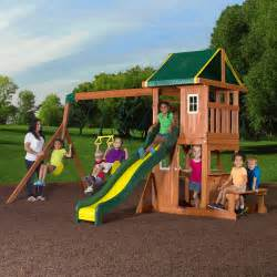 backyard wooden swing set backyard discovery oakmont cedar wooden swing set
