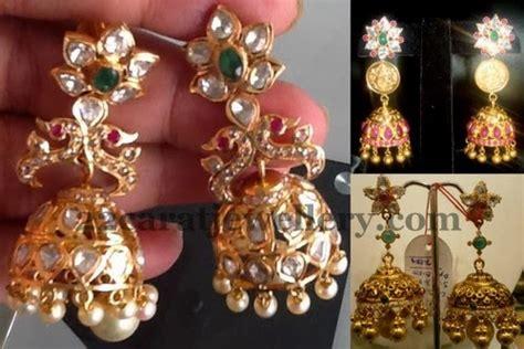 flower design jhumkas floral design pachhi jhumkas jewellery designs