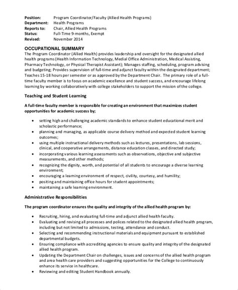 program director description sle program coordinator description 9 exles